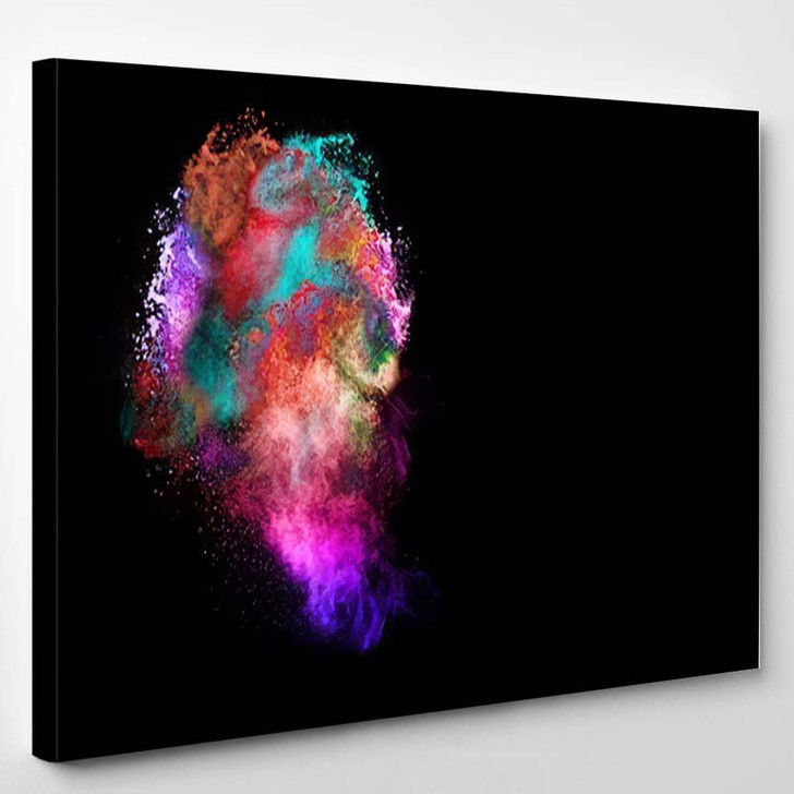 Abstract Art Colored Powder On Black - Abstract Art Canvas Wall Decor