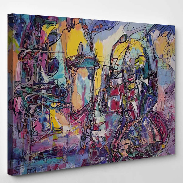Abstract Art Colorful Color Mixing Techniques 2 - Abstract Art Canvas Wall Decor