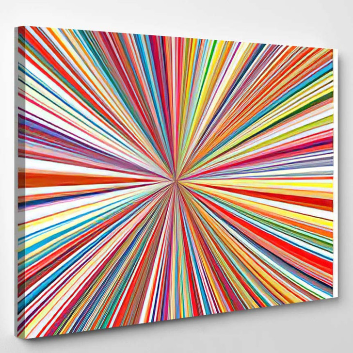 Abstract Art Rainbow Curved Lines Colorful - Abstract Art Canvas Wall Decor