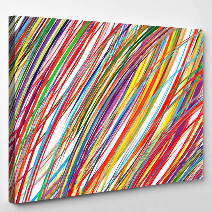 Abstract Art Rainbow Curved Lines Colorful 1 - Abstract Art Canvas Wall Decor