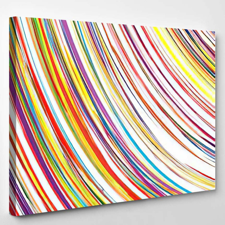 Abstract Art Rainbow Curved Lines Colorful 3 - Abstract Art Canvas Wall Decor