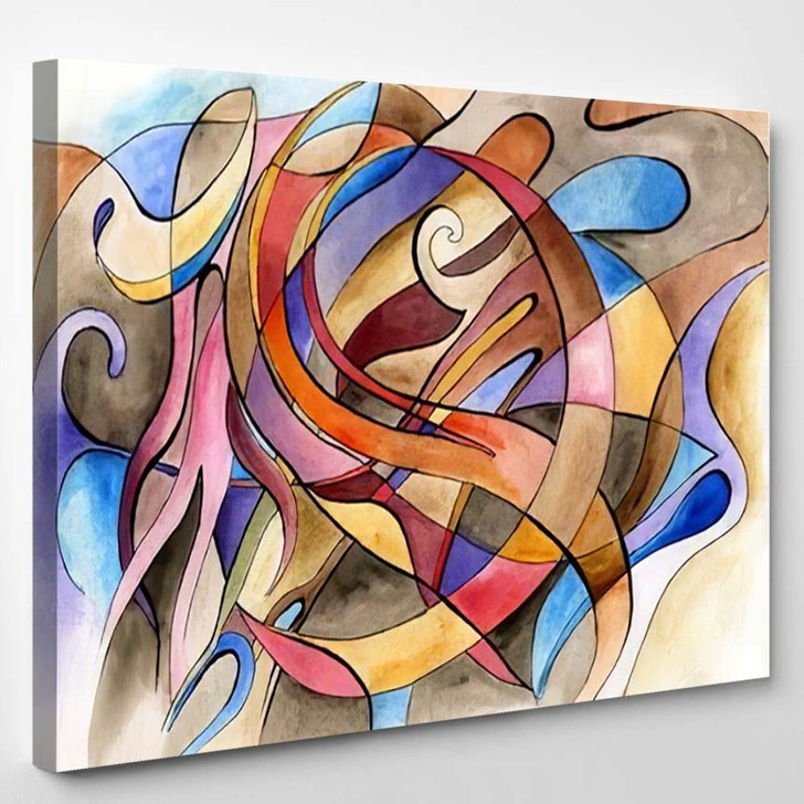 Abstract Artwork Different Shapes Lines - Abstract Art Canvas Wall Decor