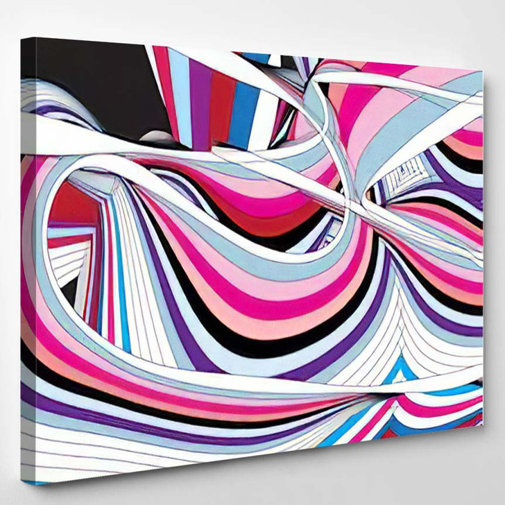 Abstract Background Wavy Elements Waves - Abstract Art Canvas Wall Decor