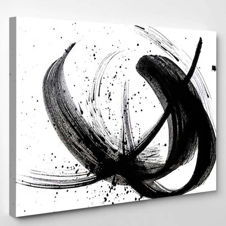 Abstract Brush Strokes Splashes Paint On 2 - Abstract Art Canvas Wall Decor
