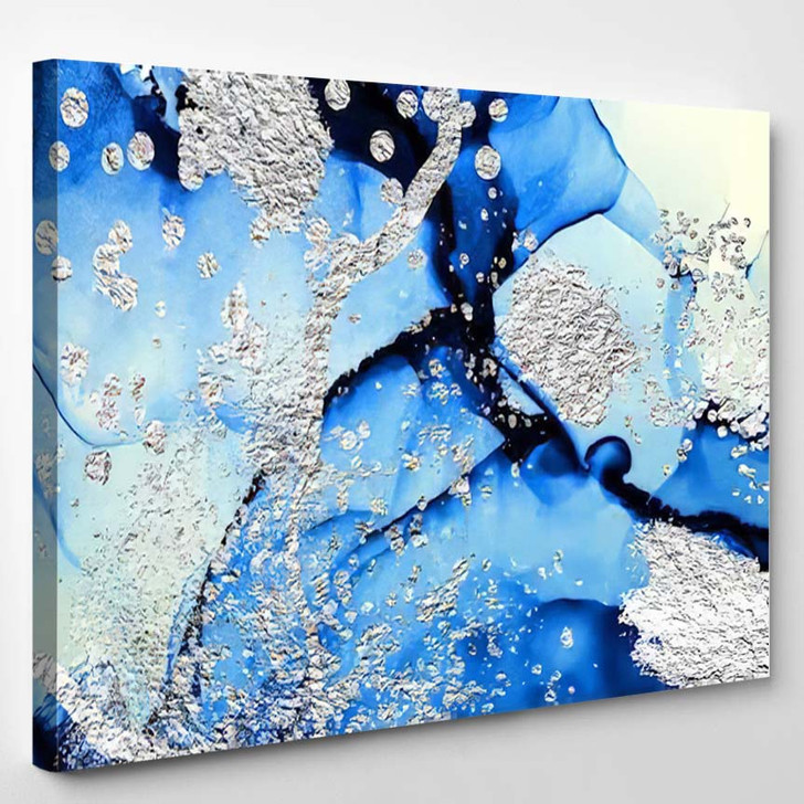 Abstract Clouds Art Silver Swirl Lines - Abstract Art Canvas Wall Decor