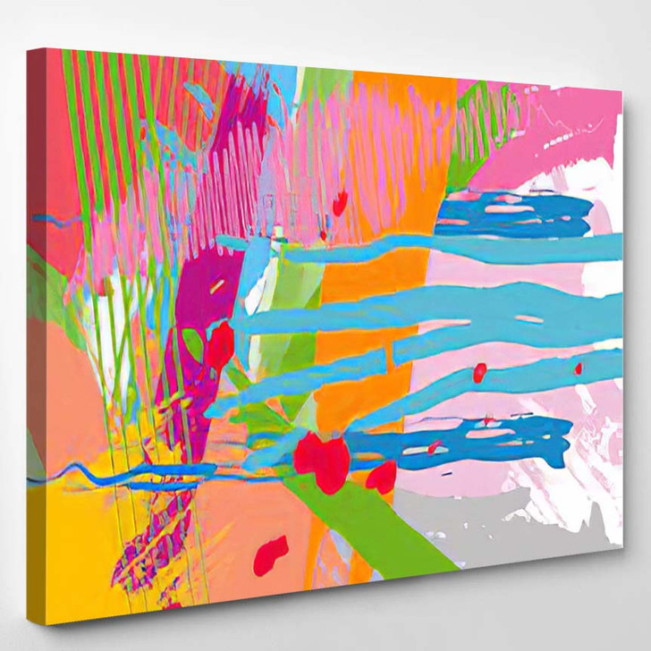 Abstract Colorful Paint Brush Scribble Texture - Abstract Art Canvas Wall Decor