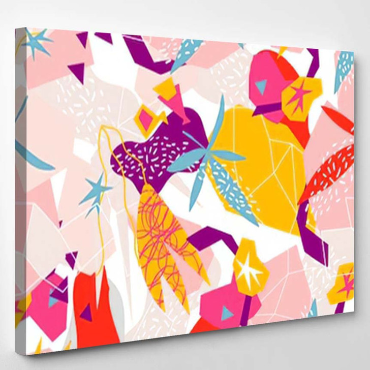 Abstract Floral Elements Paper Collage Illustration - Abstract Art Canvas Wall Decor