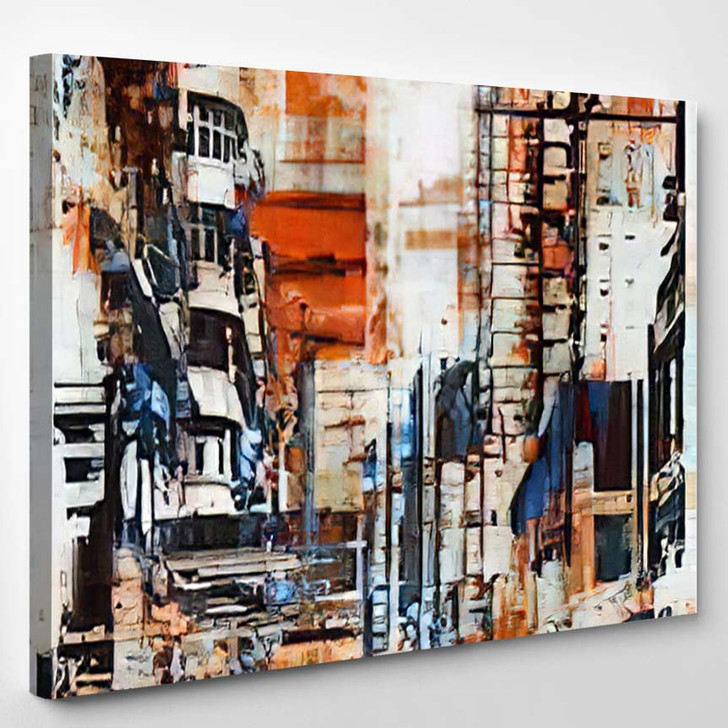 Abstract Grunge Cityscapeillustration Painting - Abstract Art Canvas Wall Decor