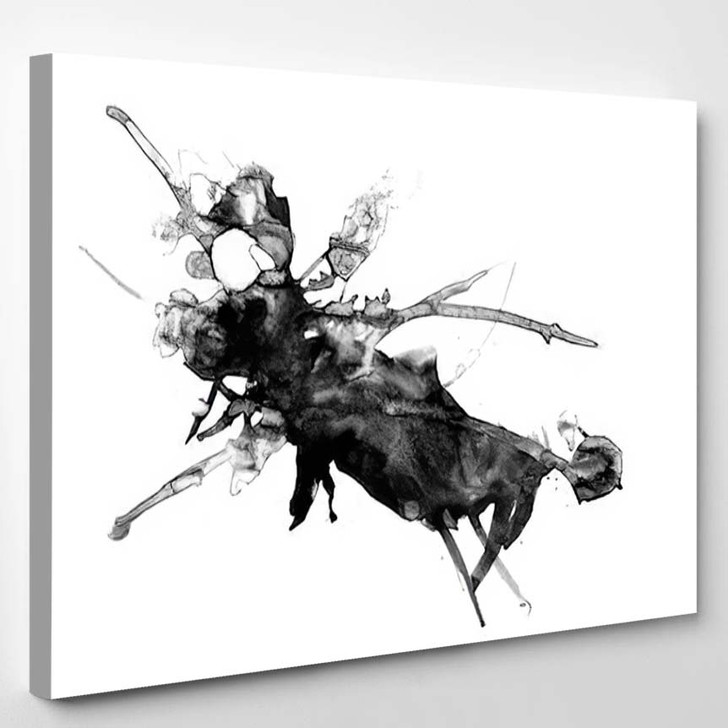 Abstract Ink Painting Artistic Black Pattern - Abstract Art Canvas Wall Decor