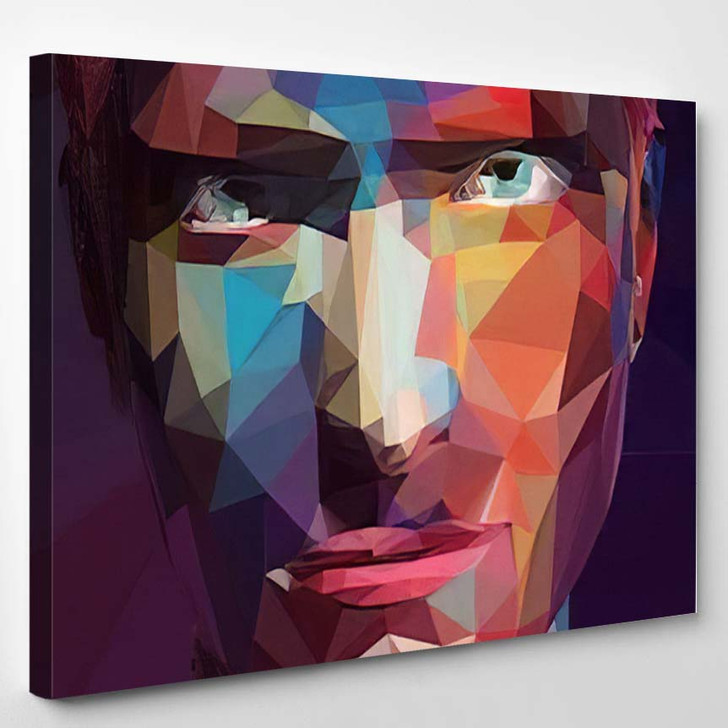Abstract Low Poly Pop Art Portrait - Abstract Art Canvas Wall Decor