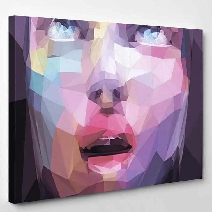 Abstract Low Poly Pop Art Portrait 1 - Abstract Art Canvas Wall Decor