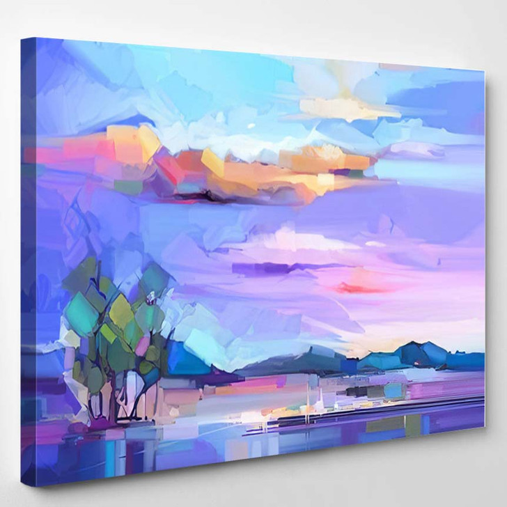 Abstract Oil Painting Landscape Background Colorful - Abstract Art Canvas Wall Decor