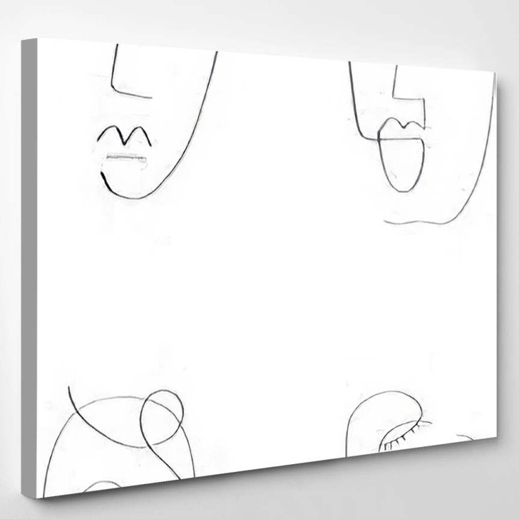 Abstract One Line Face Modern Design - Abstract Art Canvas Wall Decor