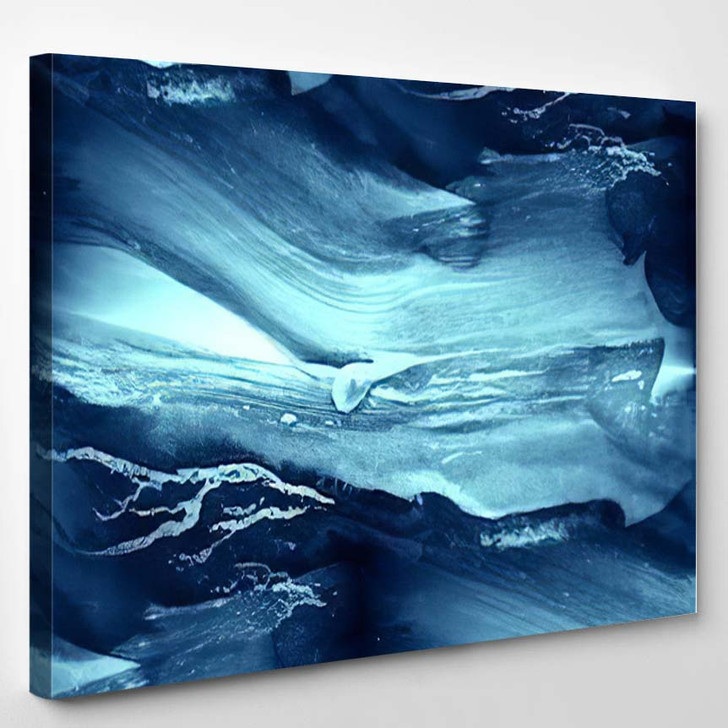 Abstract Paint Water Blue Sea Waves - Abstract Art Canvas Wall Decor