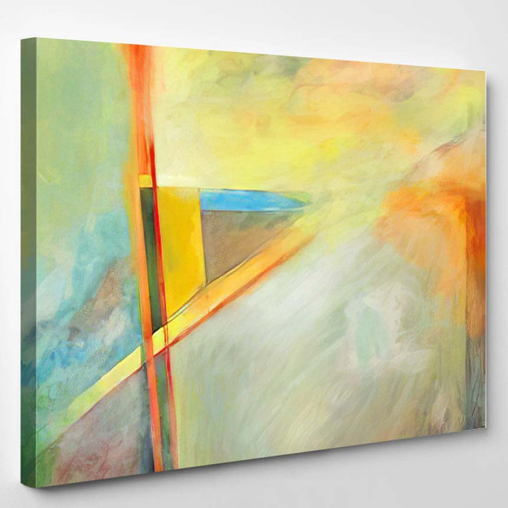Abstract Painting Partly Hard Edged Geometric - Abstract Art Canvas Wall Decor