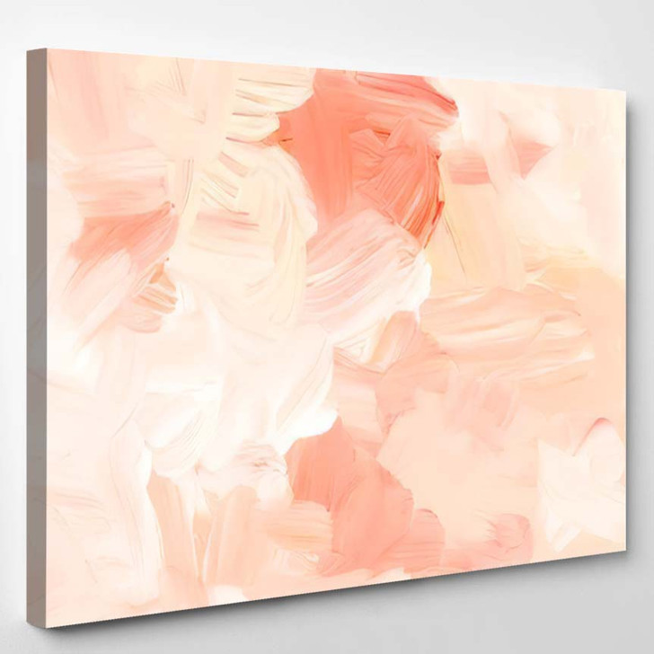 Abstract Pastel Peach White Art Painting - Abstract Art Canvas Wall Decor