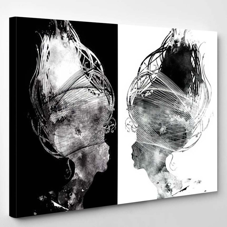 Abstract Surreal Portrait Beautiful Girl Profile - Abstract Art Canvas Wall Decor