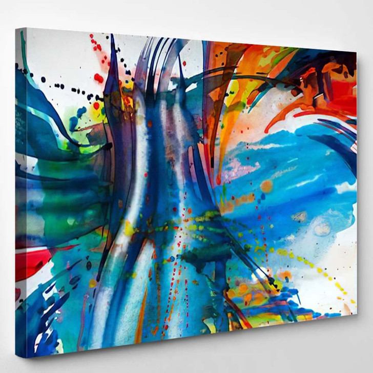 Abstract Watercolor Texture Modern Painting Colorful 1 - Abstract Art Canvas Wall Decor