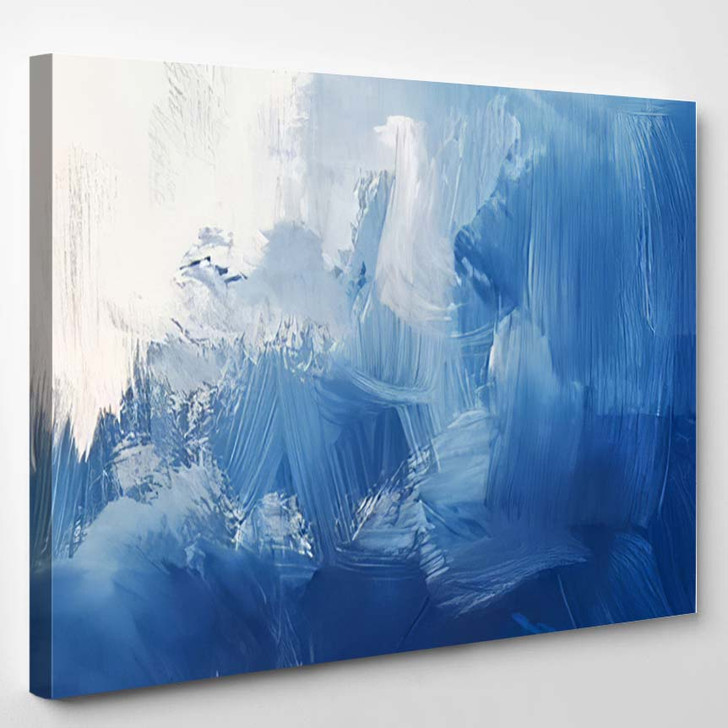 Blue Gradient Abstract Background Painting Modern - Abstract Art Canvas Wall Decor