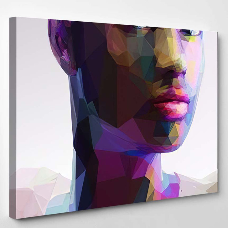 Low Poly Abstract Portrait Black Girl - Abstract Art Canvas Wall Decor