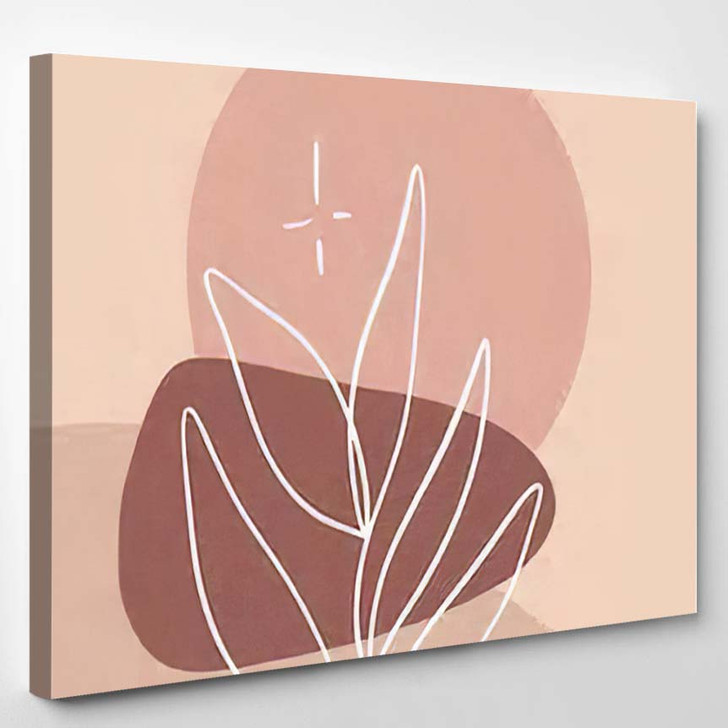 Minimalist Abstraction Leaf Geometric Shapes Contemporary - Abstract Art Canvas Wall Decor