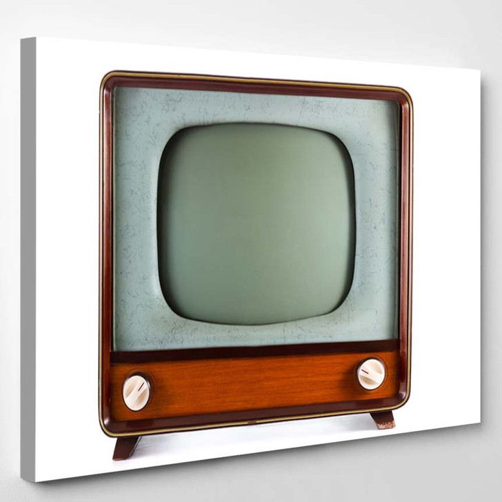 1960S Old Television On White Background - Canvas Wall Decor