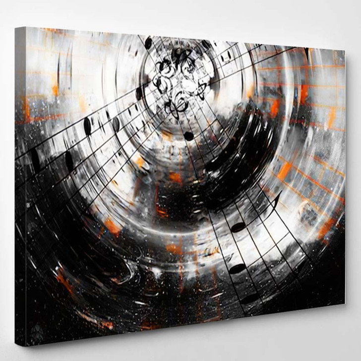 Music Notes Silhouette Speaker Space Stars - Abstract Art Canvas Wall Decor