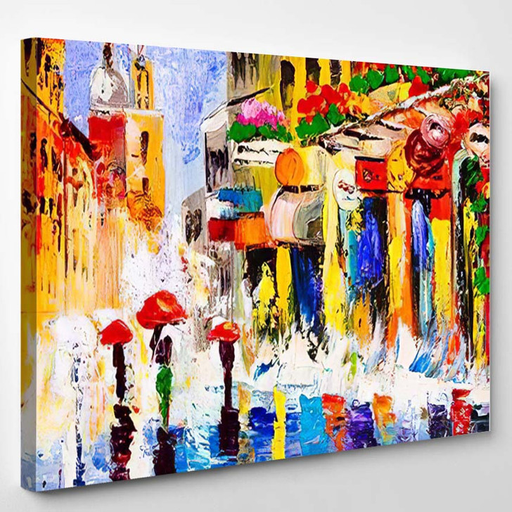 Oil Painting Colorful Rainy Night - Abstract Art Canvas Wall Decor
