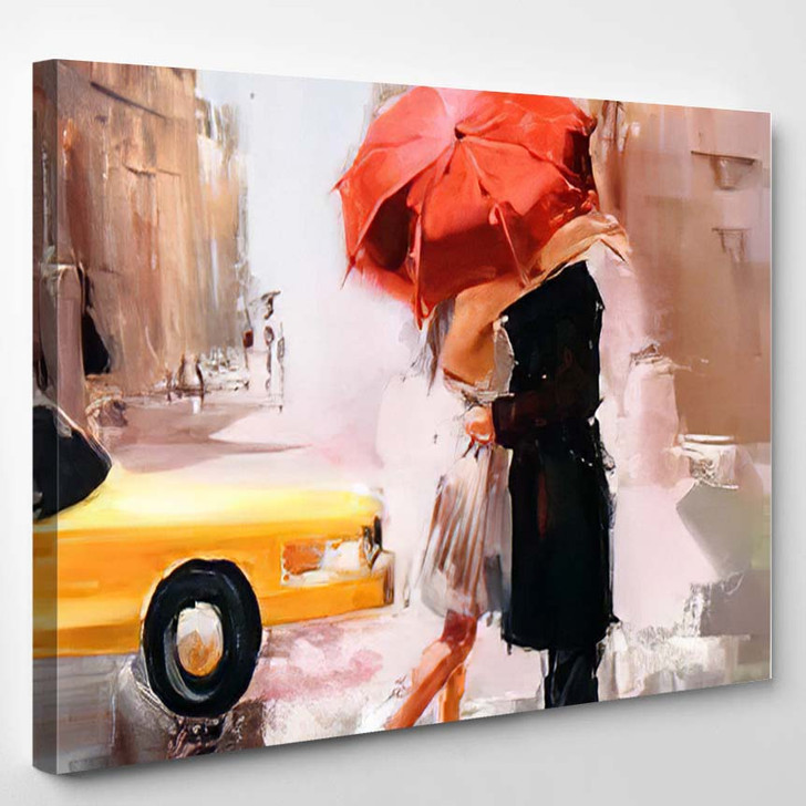 Oil Painting Dating Couple - Abstract Art Canvas Wall Decor