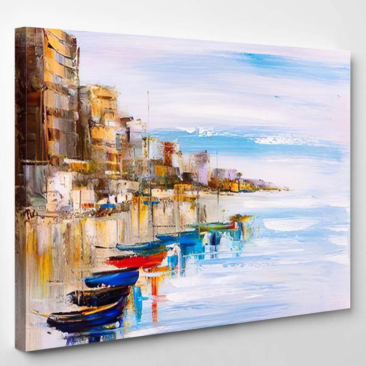 Oil Painting Harbor View 3 - Abstract Art Canvas Wall Decor