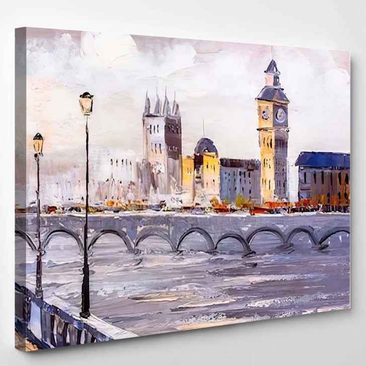 Oil Painting Street View London 2 - Abstract Art Canvas Wall Decor