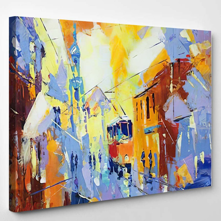 Original Oil Painting On Canvas Cubism - Abstract Art Canvas Wall Decor