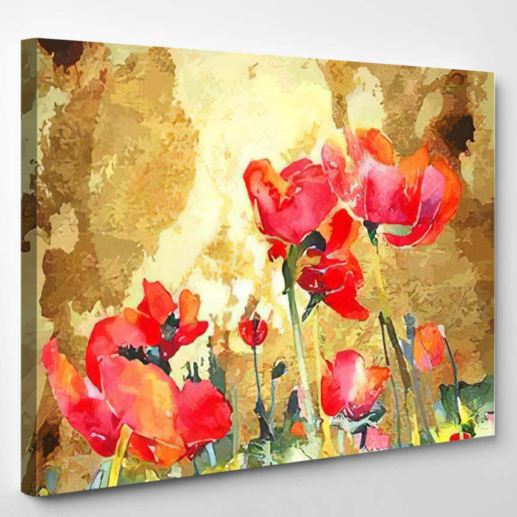 Original Watercolor Poppy Flower Gold Background - Abstract Art Canvas Wall Decor