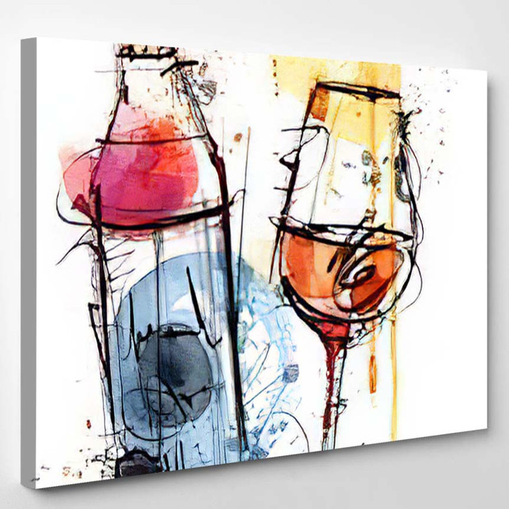 Red Wine Water Color - Abstract Art Canvas Wall Decor