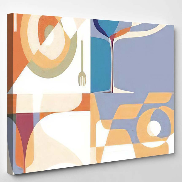 Set Backgrounds Menu Silhouettes Glasses Plate - Abstract Art Canvas Wall Decor