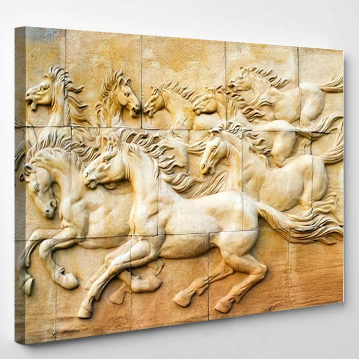 Stone Sculpture Horse On Wall - Abstract Art Canvas Wall Decor