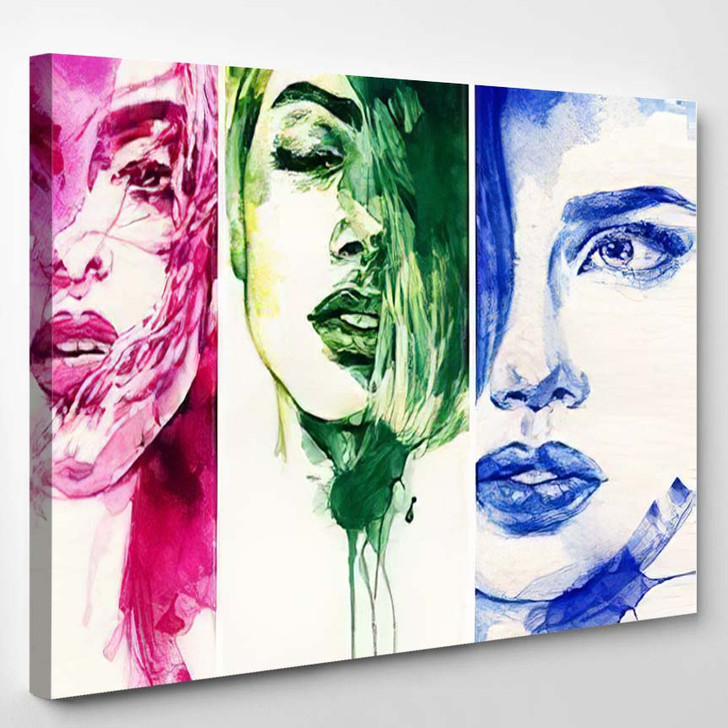 Woman Face Hand Painted Fashion Illustration - Abstract Art Canvas Wall Decor
