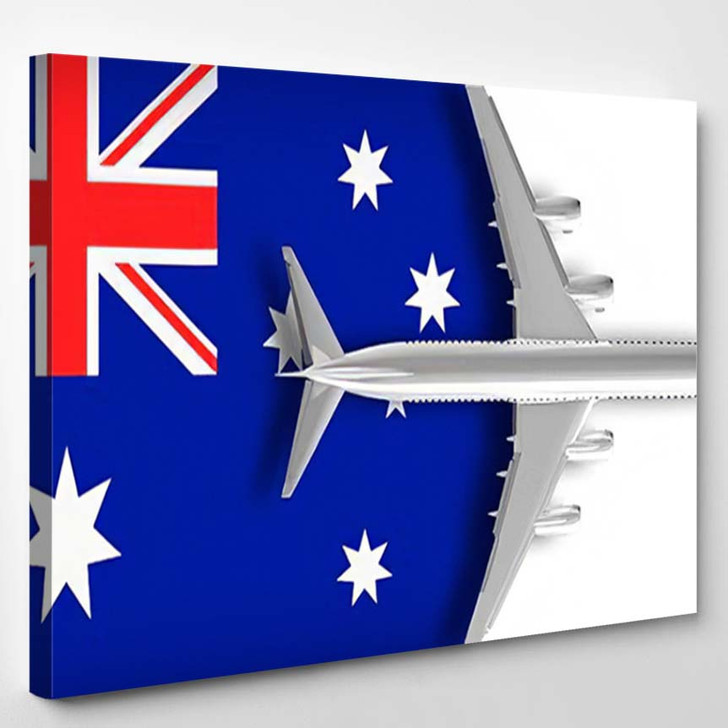 3D Illustration Flag Australia Airplane Flying - Airplane Airport Canvas Wall Decor