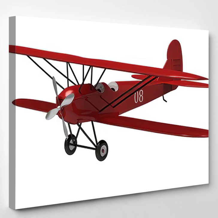 3D Render Model Ancient Plane On - Airplane Airport Canvas Wall Decor