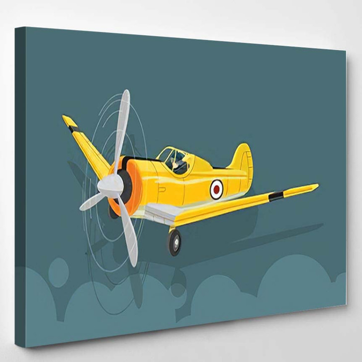 6 Texan North American Old Military - Airplane Airport Canvas Wall Decor