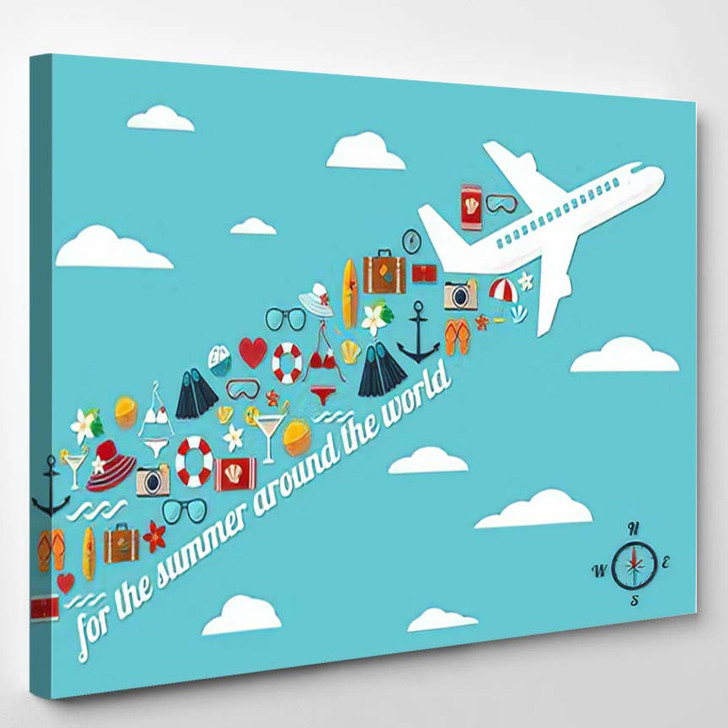 Abstract Illustration Airplane Blue Sky Fall - Airplane Airport Canvas Wall Decor