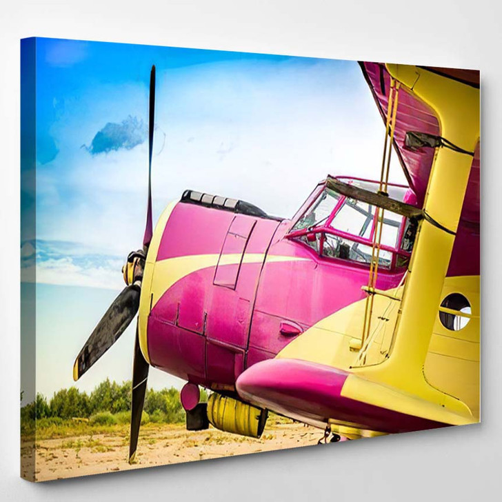 Abstract Old Yellow Pink Purple Plane - Airplane Airport Canvas Wall Decor
