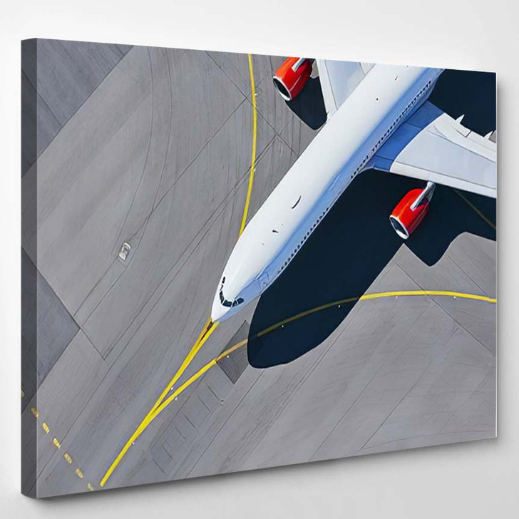 Aerial View Airport Airplane Taxiing Runway 1 - Airplane Airport Canvas Wall Decor