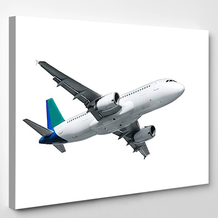 Airplane Isolated On White Background - Airplane Airport Canvas Wall Decor