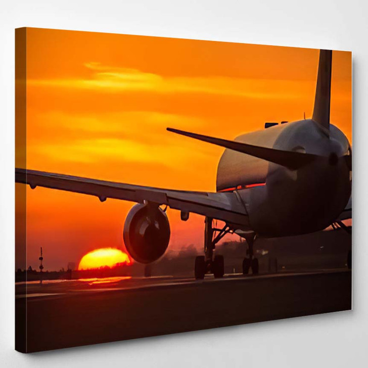 Airplane Sunset 1 - Airplane Airport Canvas Wall Decor