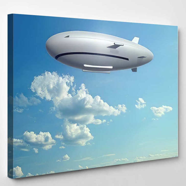Big Zeppelin Flying Sky Futuristic Airship - Airplane Airport Canvas Wall Decor