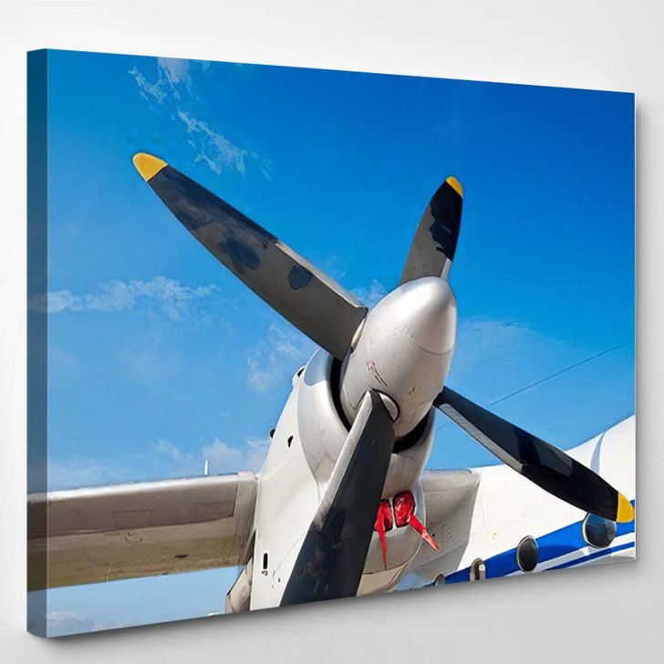 Black Wings Airplane Motor Blue Sky - Airplane Airport Canvas Wall Decor