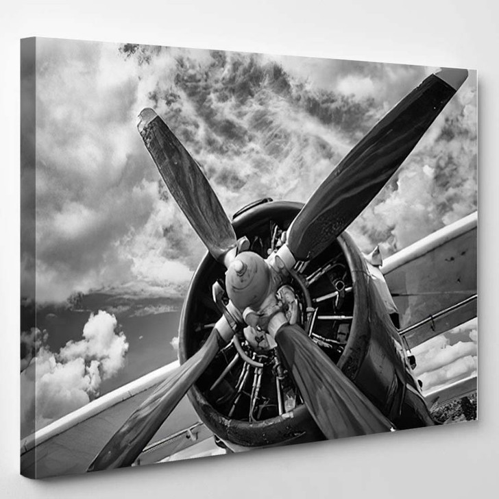 Close Old Airplane Black White 1 - Airplane Airport Canvas Wall Decor