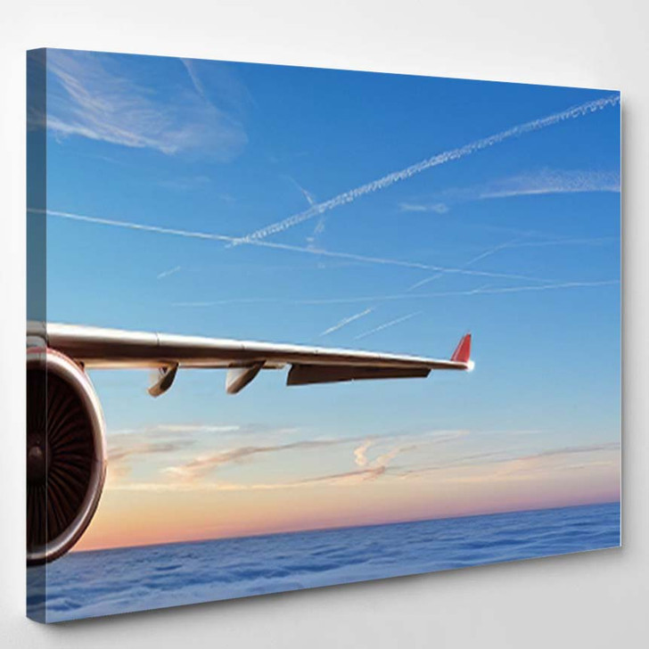 Detail Wing Commercial Airplane Jetliner Flying - Airplane Airport Canvas Wall Decor