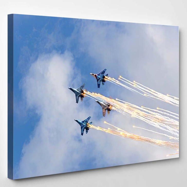 Four Military Aircrafts Making Stunt Fireworks - Airplane Airport Canvas Wall Decor